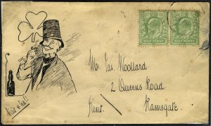 ramsgate kent cover with irishman - 1910