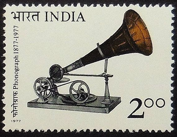 india phonograph 100th anniversary postage stamp - 1977