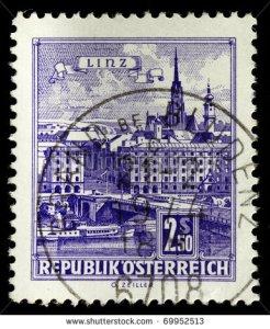 linz austria with Danube Bridge