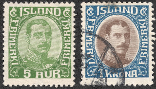 1920 iceland stamps Christian X