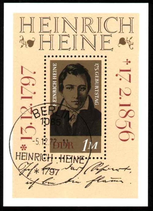 heinrich heine souvenir sheet - ddr
