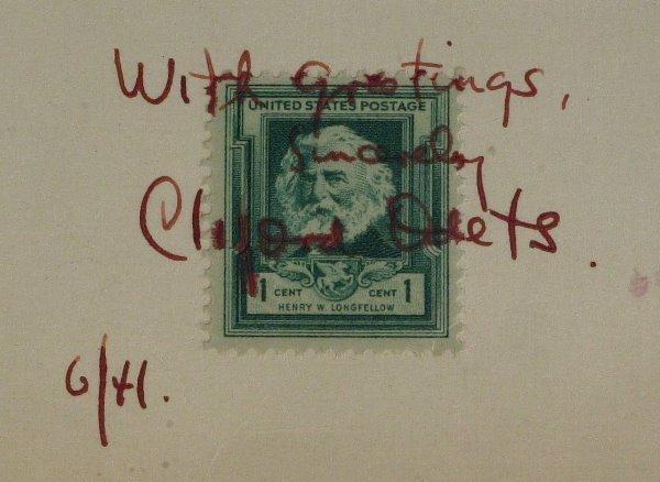 clifford odets signed postage stamp - usa