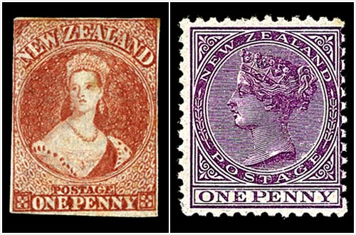 New Zealand - first postage stamps - 1855