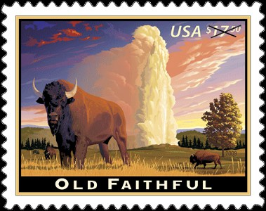 Old Faithful Express Mail Stamp - U.S.