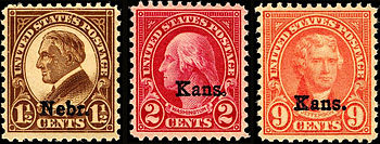Kansas Nebraska Overprints U.S.A. - 1929